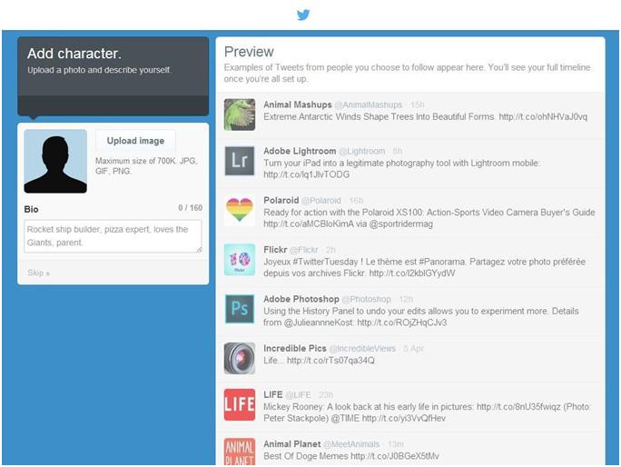 uusi twitter profiili 2014 lisää kuva ja bio