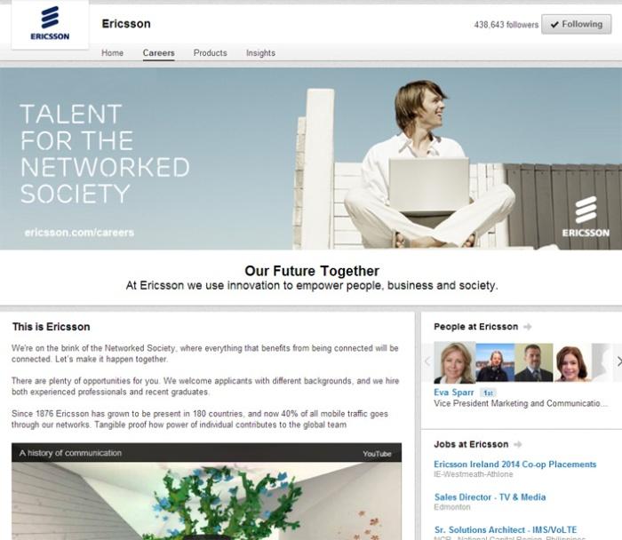 LI Ericsson page recruiting