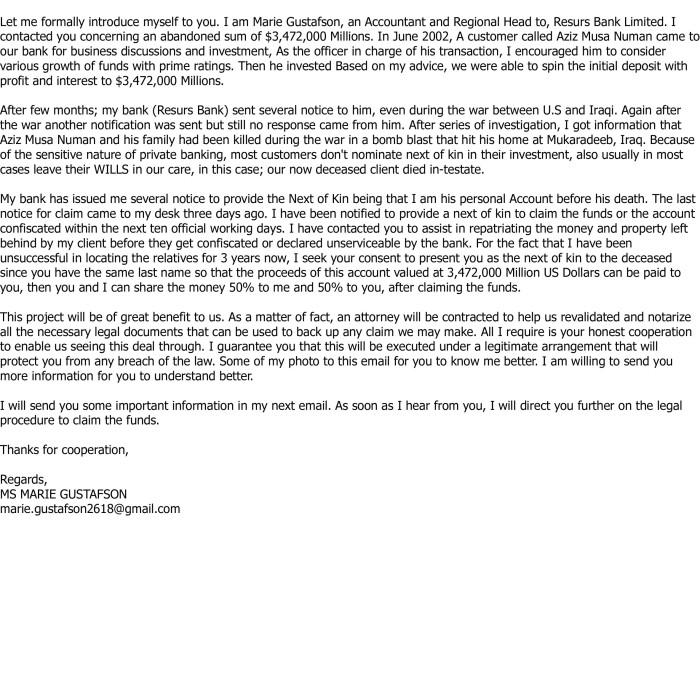 suspicious email via LI