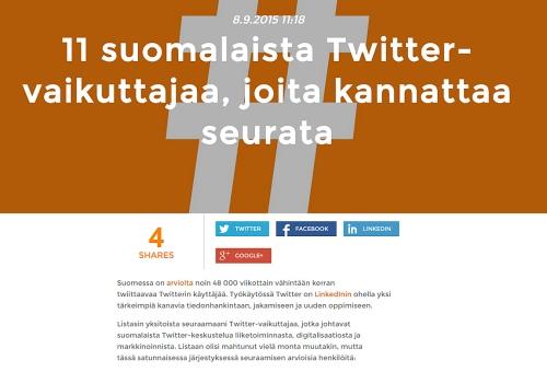 11 suomalaista Twitter vaikuttajaa 2015