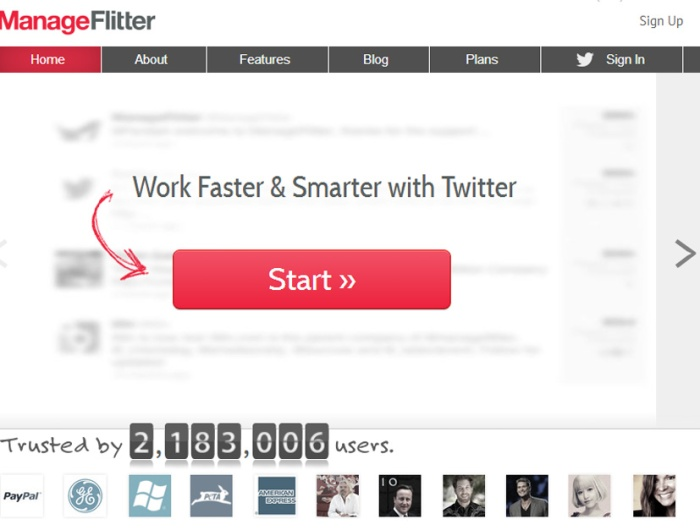 ManageFlitter Start Page