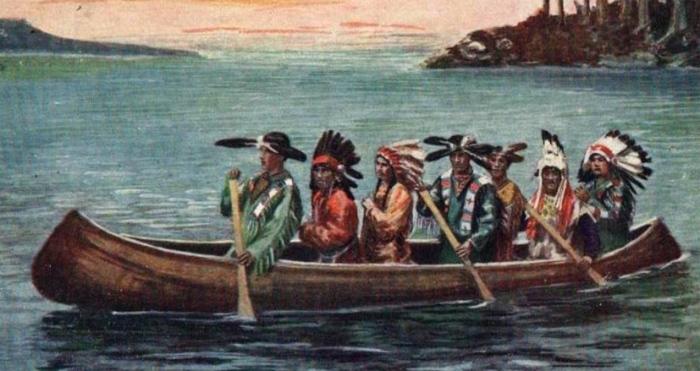 intiaanit kanootissa