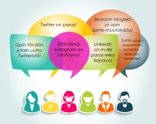 Colorful social media people group. Chat and forum concept illustration. EPS10 vector file with transparency layers.